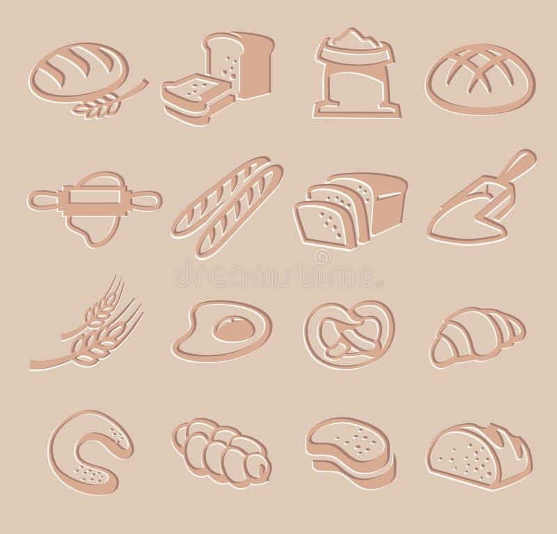 Ensemble d'icône de pain de vecteur illustration stock