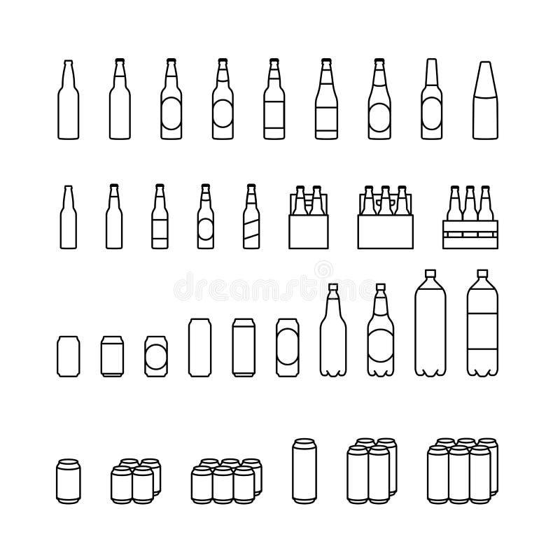 Ensemble d'icône de paquet de bière illustration libre de droits