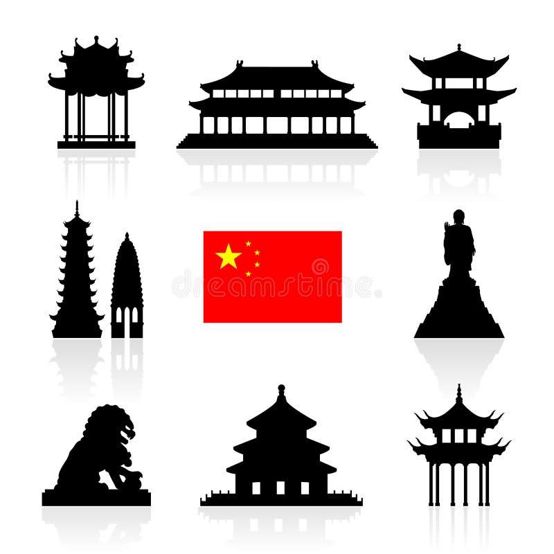 Ensemble d'icône de points de repère de la Chine illustration stock