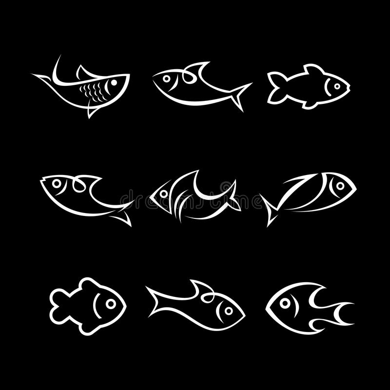 Ensemble d'icône de poissons illustration stock