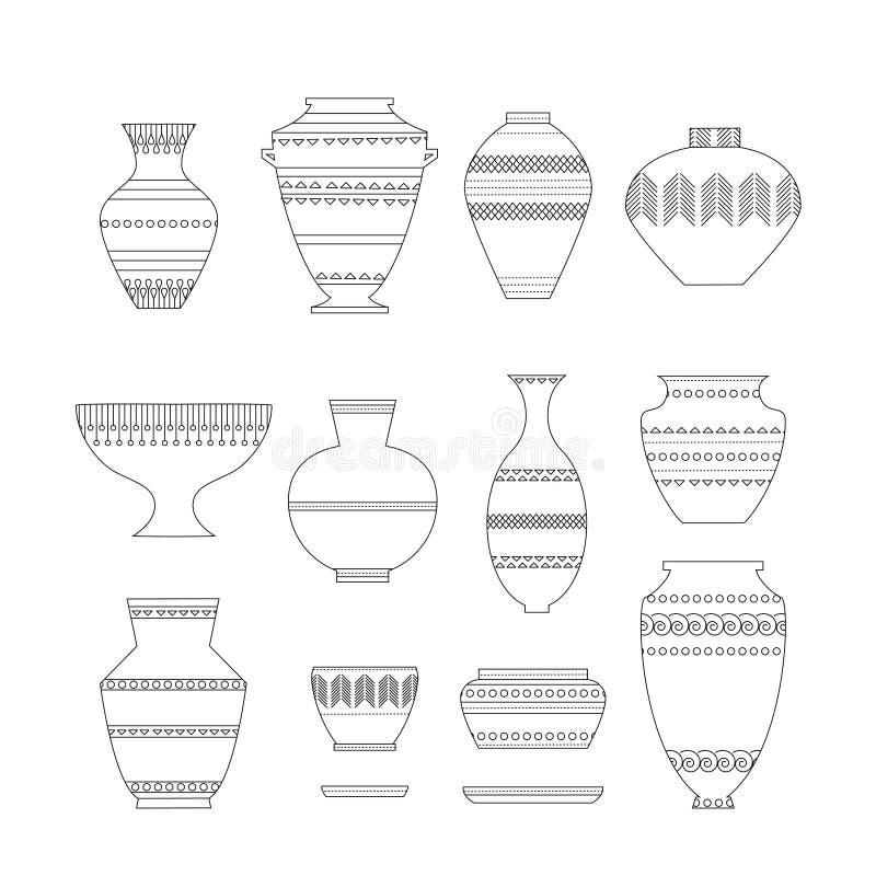 Ensemble d'icône de poterie illustration de vecteur