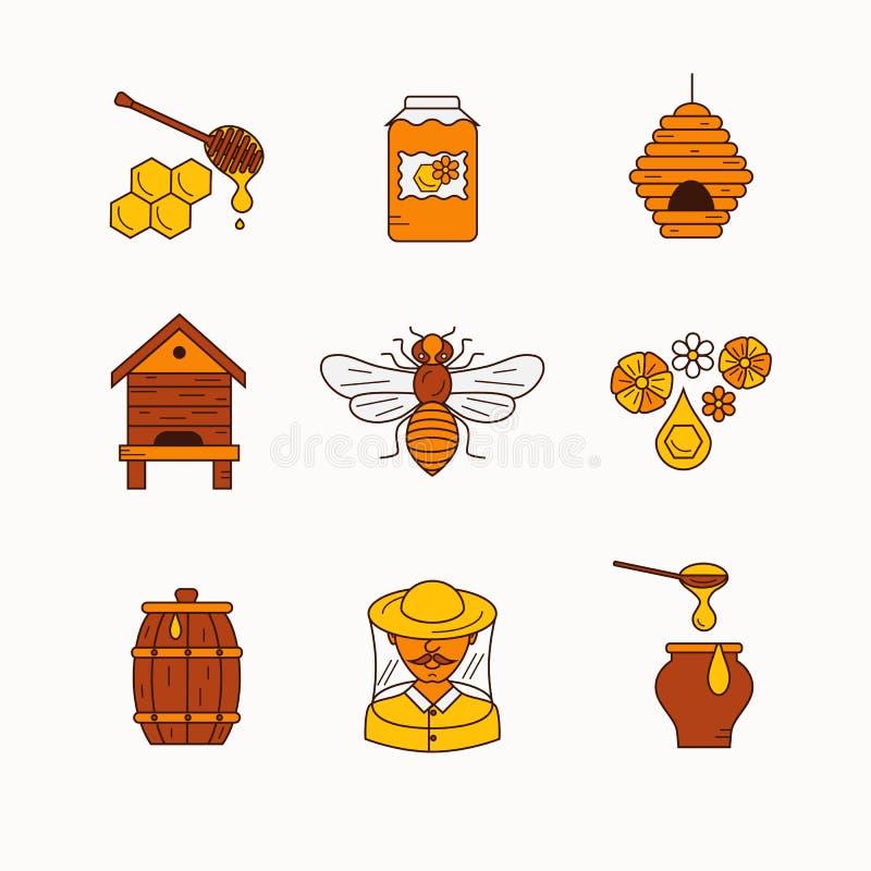 Ensemble d'icône de produit de l'apiculture illustration de vecteur
