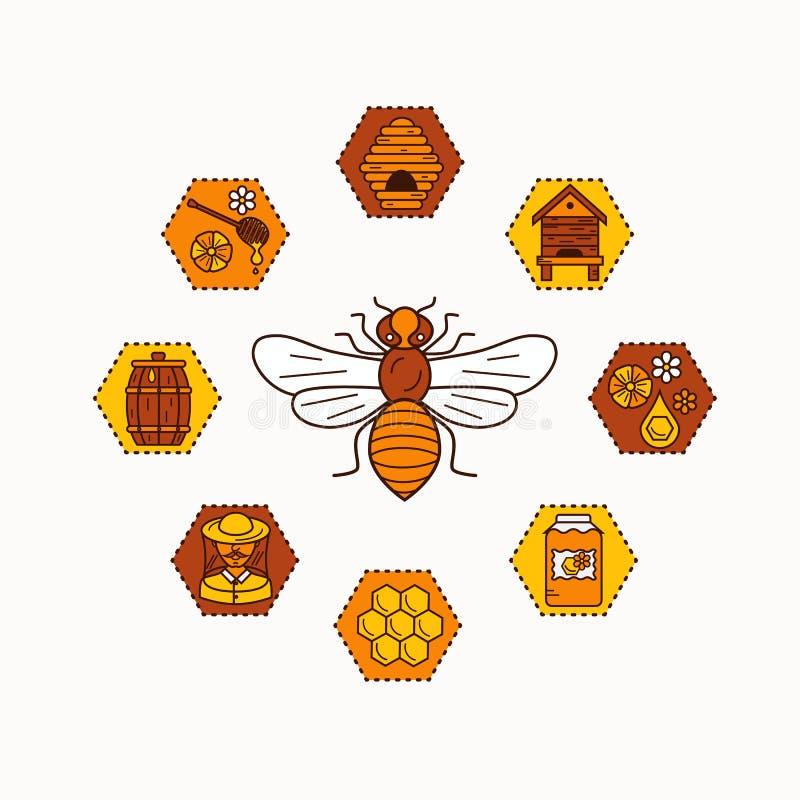 Ensemble d'icône de produit de l'apiculture illustration stock