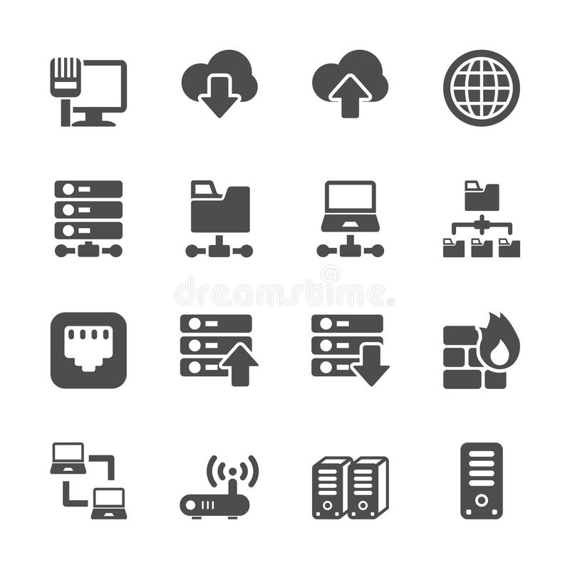 Ensemble d'icône de réseau et de serveur, vecteur eps10 illustration de vecteur