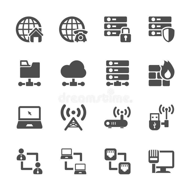 Ensemble d'icône de réseau, vecteur eps10 illustration stock