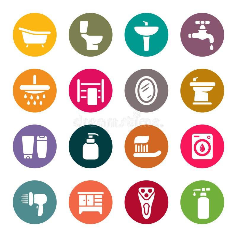 Ensemble d'icône de salle de bains illustration libre de droits