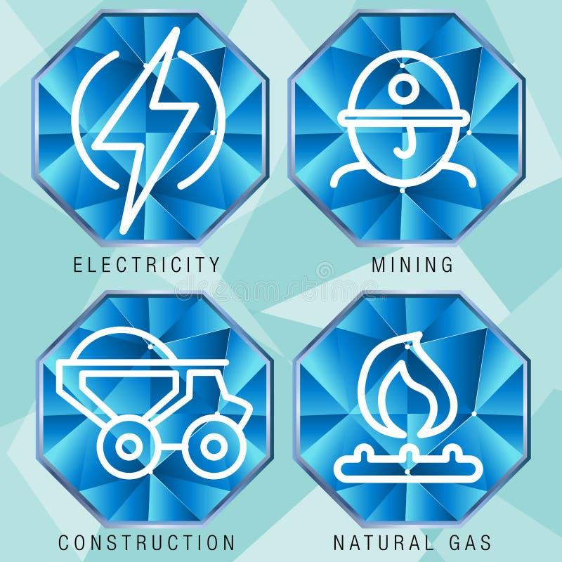 Ensemble d'icône de secteur de l'énergie illustration de vecteur