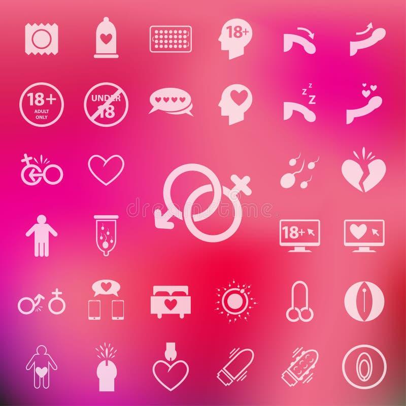Ensemble d'icône de sexe sur le fond de rose de tache floue Vector/EPS10 illustration stock