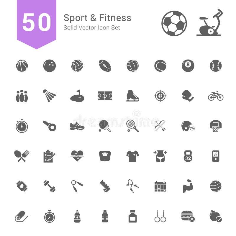 Ensemble d'icône de sport et de forme physique 50 icônes solides de vecteur illustration libre de droits