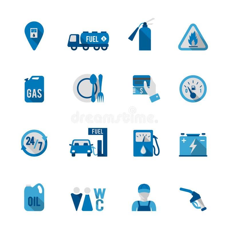Ensemble d'icône de station de carburant illustration stock