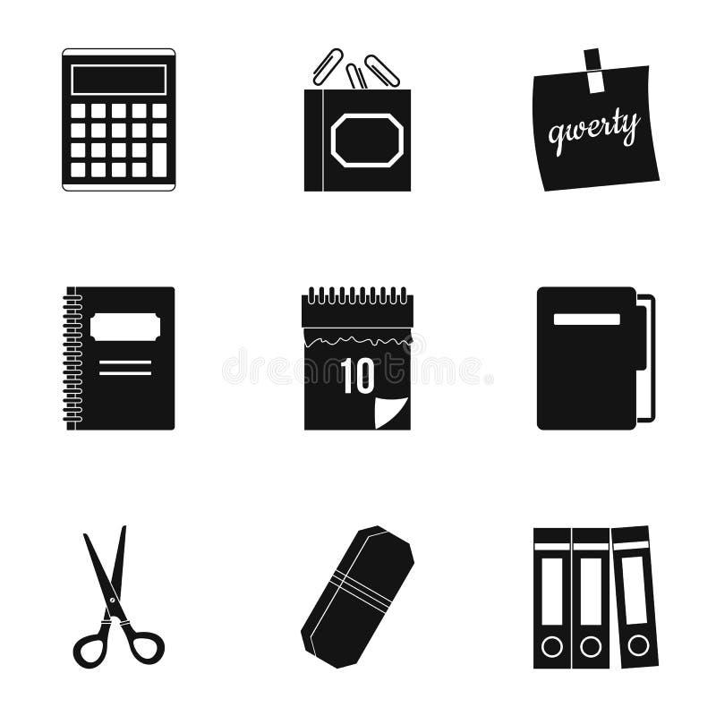 Ensemble d'icône de substance de bureau, style simple illustration stock
