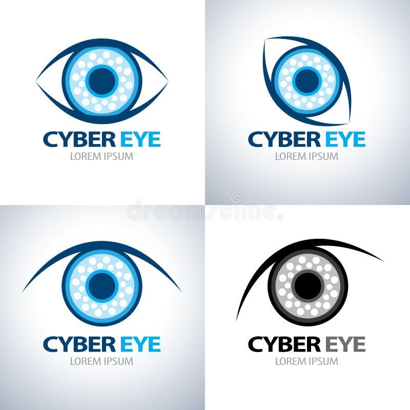 Ensemble d'icône de symbole d'oeil de Cyber illustration de vecteur