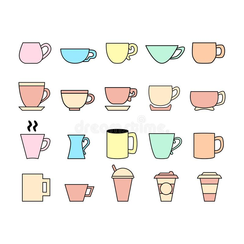 Ensemble d'ic?ne de tasse Logo de tasse Ligne ic?nes de vecteur illustration stock