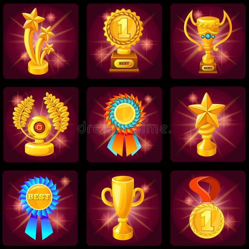 Ensemble d'icône de trophées d'écran de jeu illustration stock