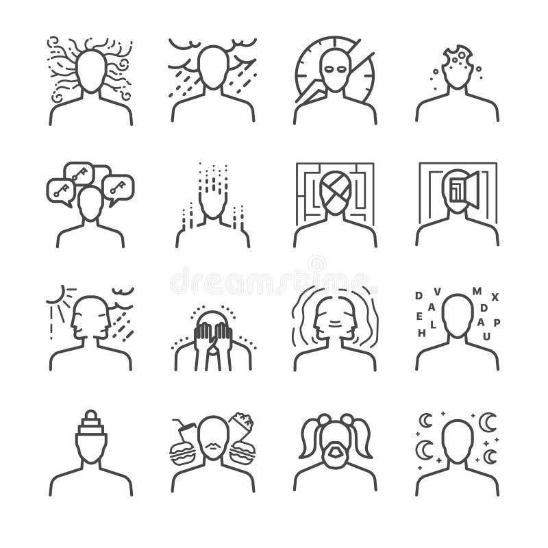 Ensemble d'icône de troubles mentaux illustration libre de droits
