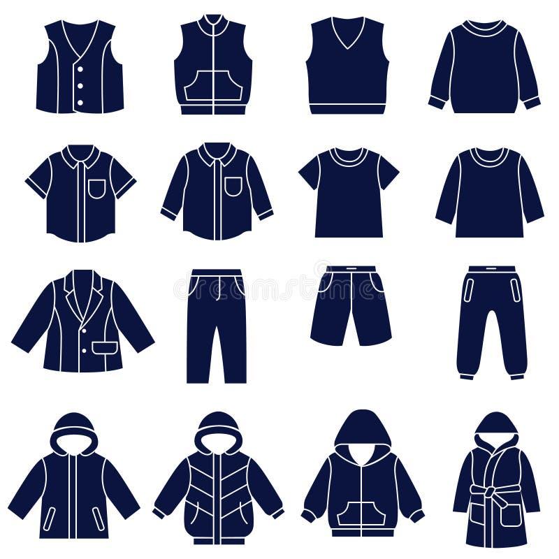 Ensemble d'icône de types de vêtements pour des garçons et des adolescents illustration de vecteur
