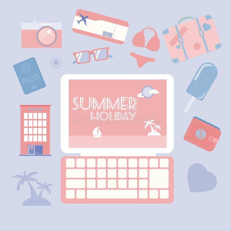 Ensemble d'icône de vacances d'été de planification de voyage illustration de vecteur