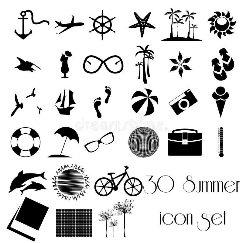 Ensemble d'icône de vacances de voyage de 30 étés illustration stock