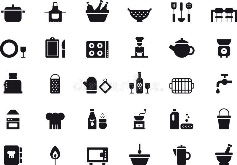 Ensemble d'icône de vaisselle de cuisine illustration stock
