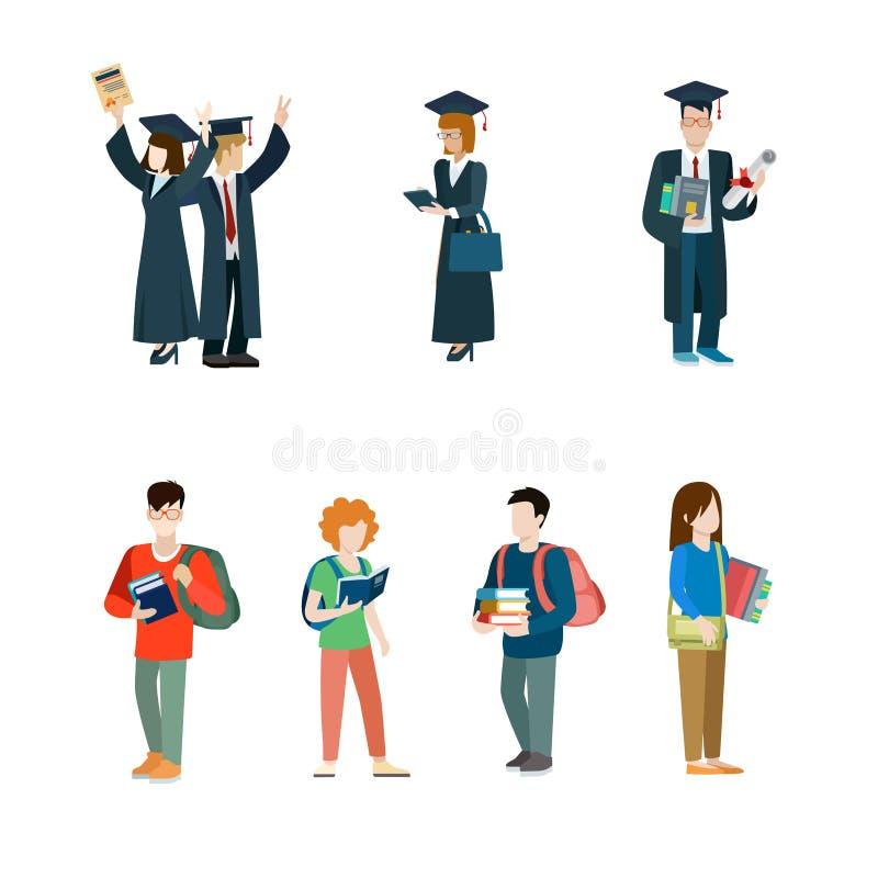 Ensemble d'icône de vecteur d'étudiant Manteau d'étudiants de troisième cycle illustration stock