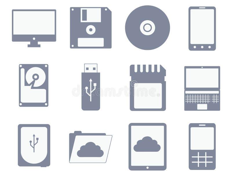 Ensemble d'icône de vecteur de différents dispositifs de stockage et d'ordinateur illustration libre de droits