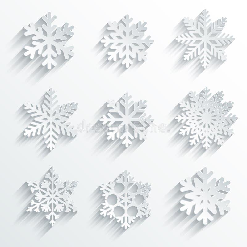 Ensemble d'icône de vecteur de forme de flocons de neige. illustration stock