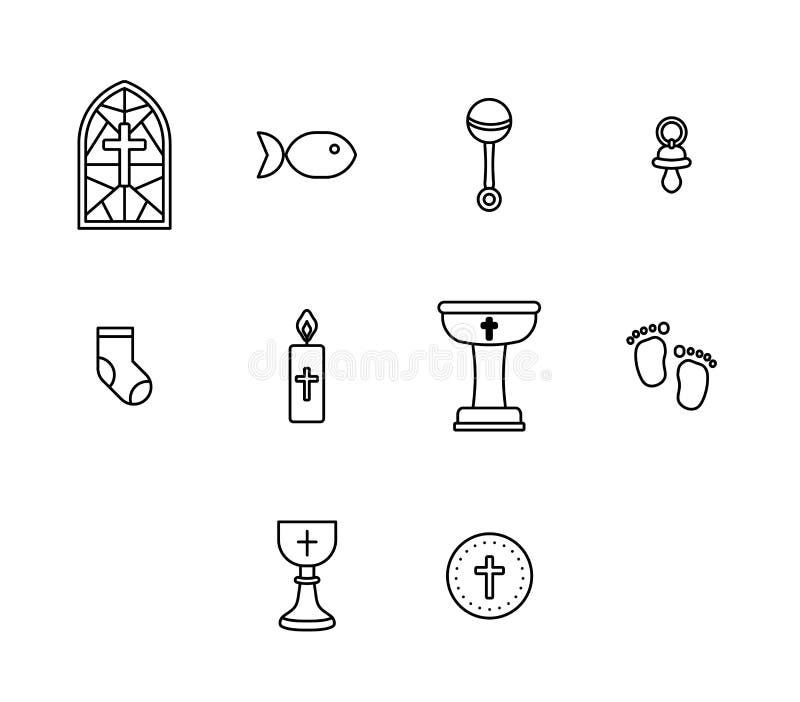 Ensemble d'icône de vecteur de signe et de symbole religieux illustration de vecteur