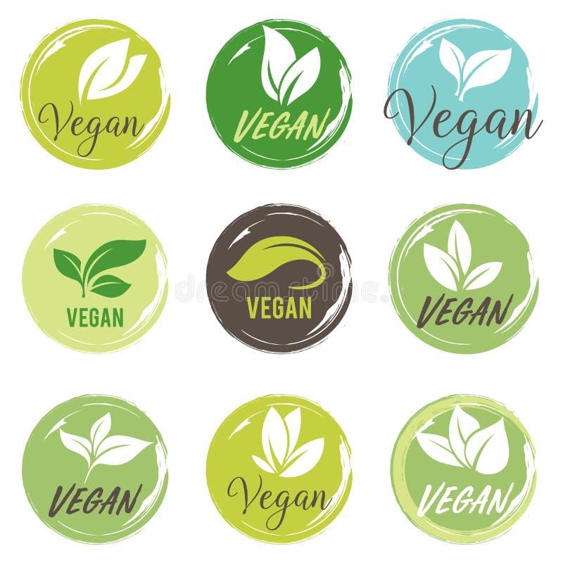 Ensemble d'ic?ne de Vegan Bio, ?cologie, logos organiques et insignes, label, ?tiquette Lame verte sur le blanc illustration de vecteur