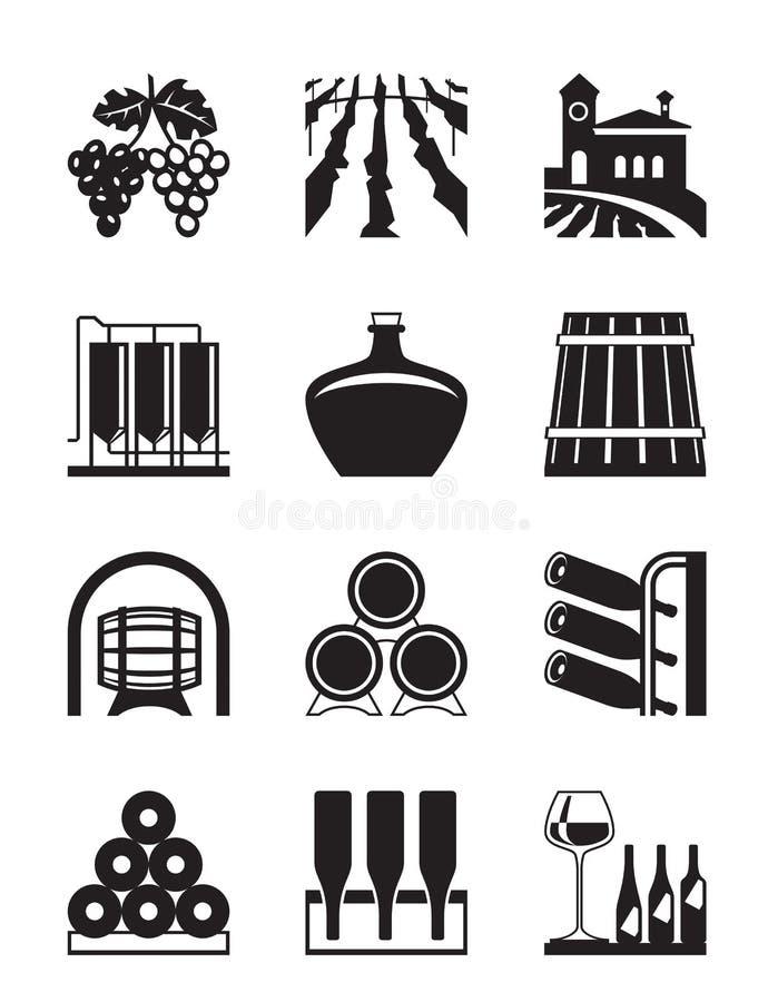 Ensemble d'icône de vignoble illustration de vecteur