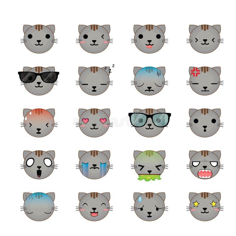 Ensemble d'icône de visages de smiley de chat illustration de vecteur
