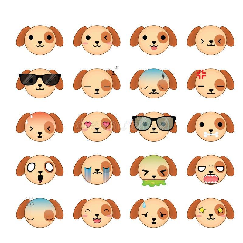 Ensemble d'icône de visages de smiley de chien illustration libre de droits