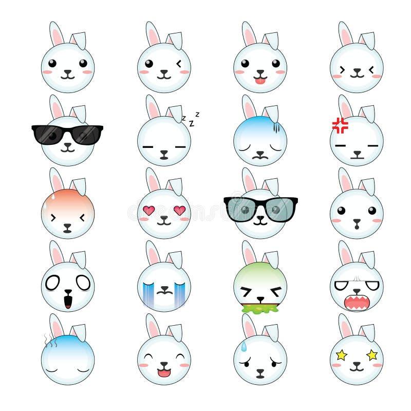 Ensemble d'icône de visages de smiley de lapin illustration libre de droits