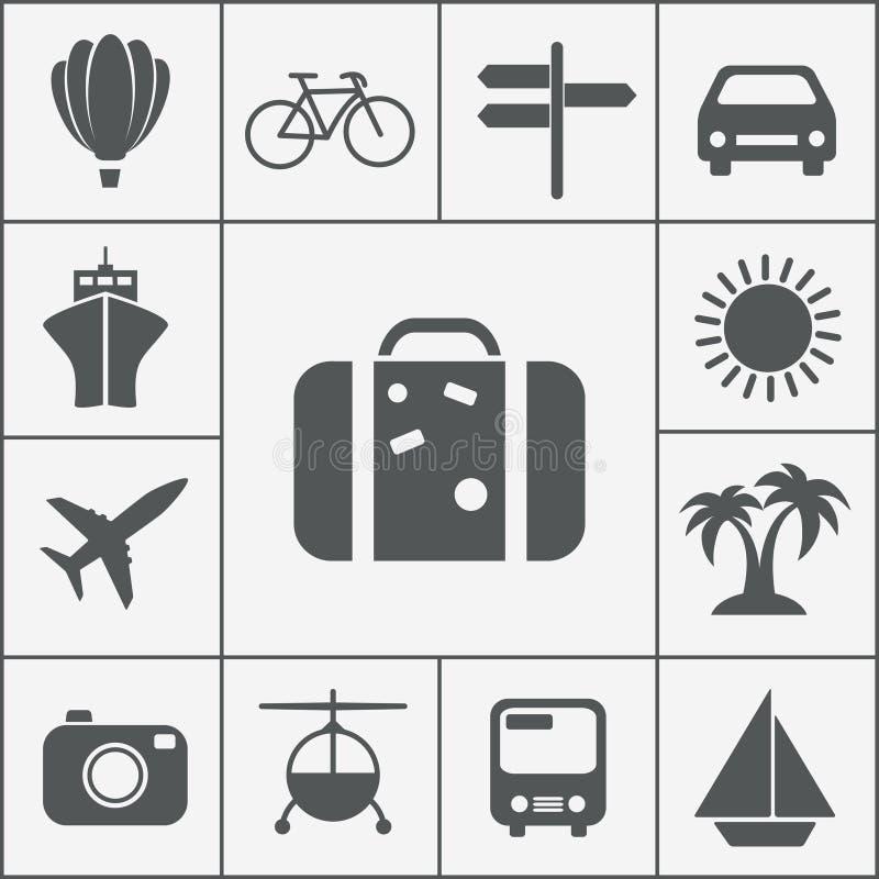 Ensemble d'icône de voyage de silhouette de vecteur illustration stock
