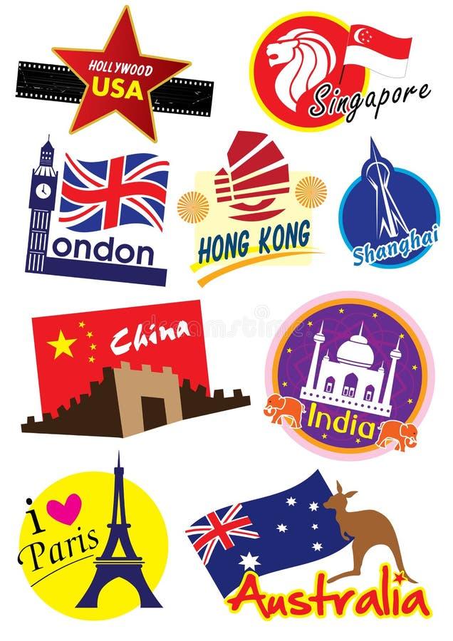 Ensemble d'icône de voyage du monde illustration de vecteur