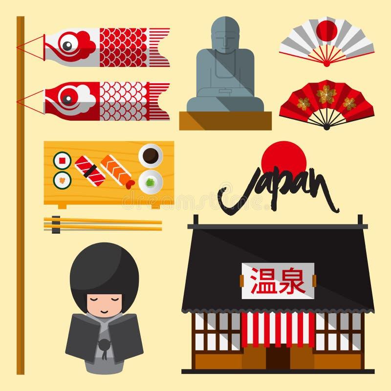 Ensemble d'icône du Japon dans la conception plate Les lettres japonaises Onsen moyen (source thermale) illustration libre de droits