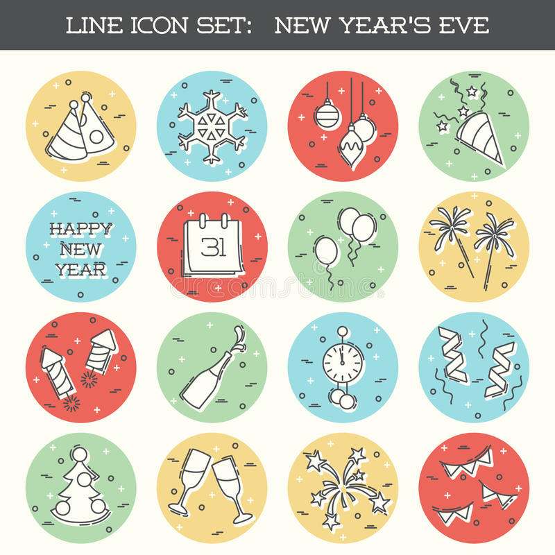 Ensemble d'icône du ` s Ève de nouvelle année illustration stock