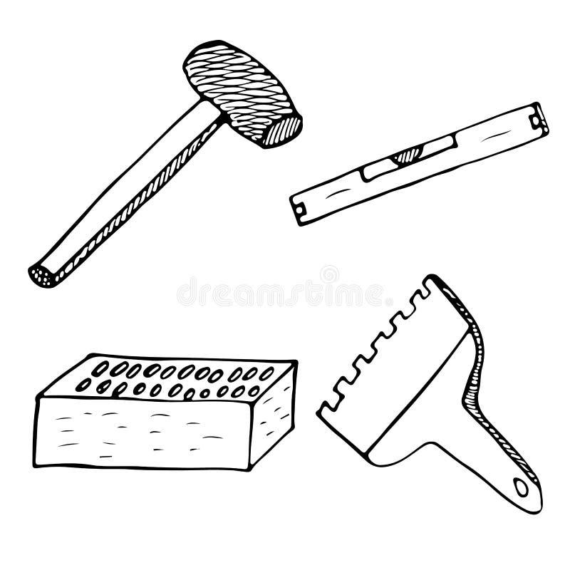 Ensemble d'ic?ne d'outils de travailleur de ma?onnerie L'ensemble simple de griffonnage d'outils de travailleur de maçonnerie dir illustration de vecteur