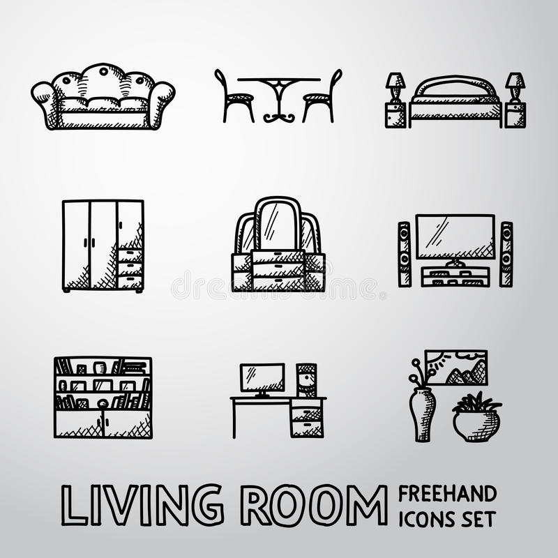 Ensemble d'icônes à main levée de salon - sofa, dinant illustration de vecteur