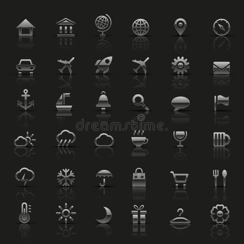 Ensemble d'icônes argentées illustration stock