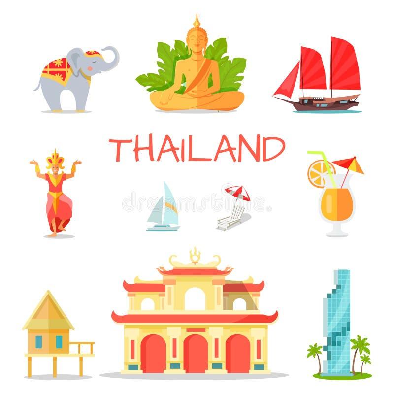 Ensemble d'icônes avec des symboles nationaux de la Thaïlande illustration de vecteur