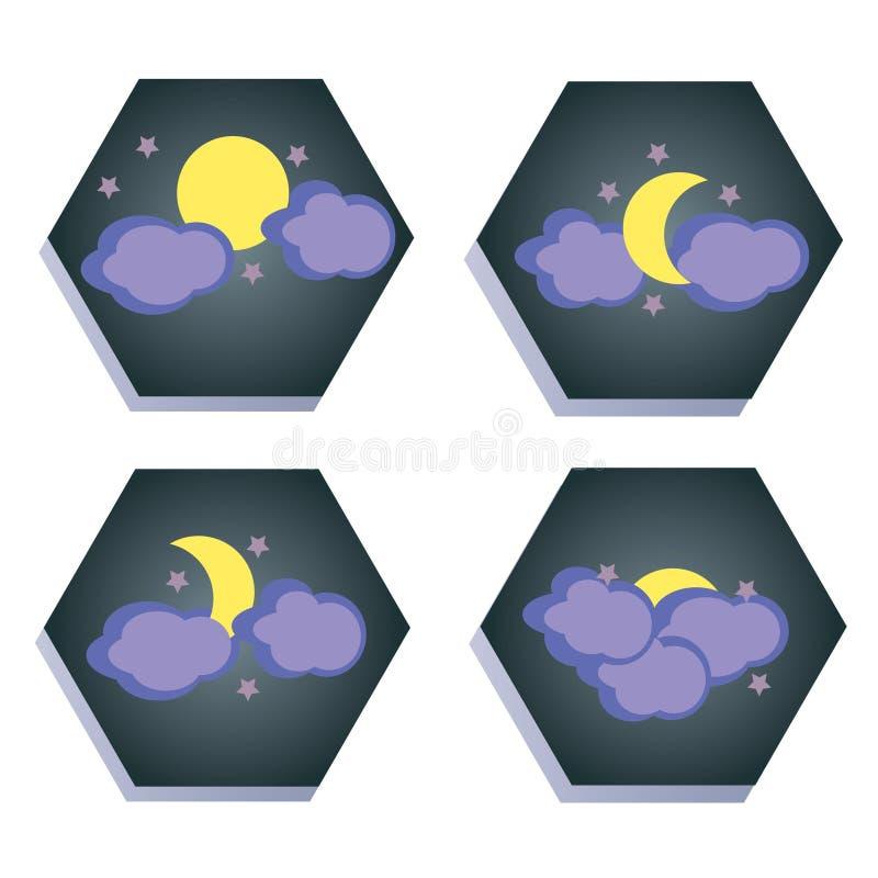 Ensemble d'icônes avec la lune illustration libre de droits