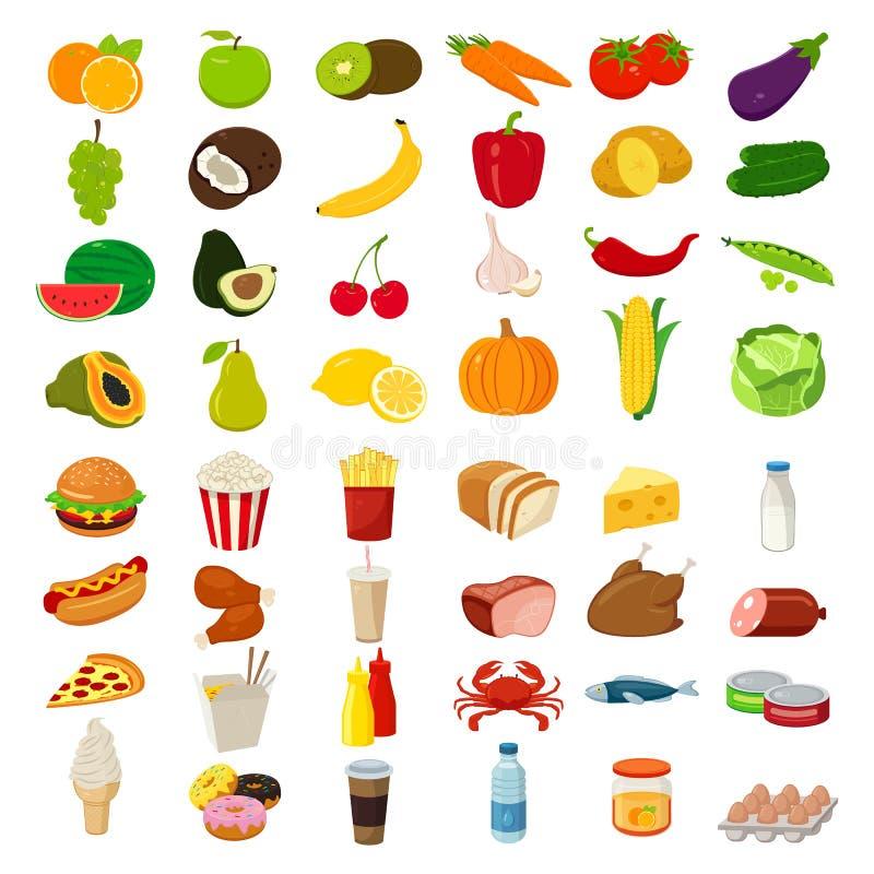 Ensemble d'icônes avec la nourriture et de boissons pour le restaurant ou le message publicitaire Vecteur illustration de vecteur
