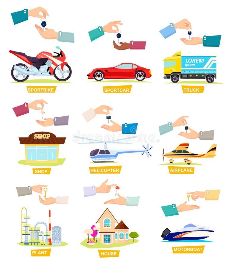 Ensemble d'icônes avec la vente, voitures de achat, Chambres illustration de vecteur
