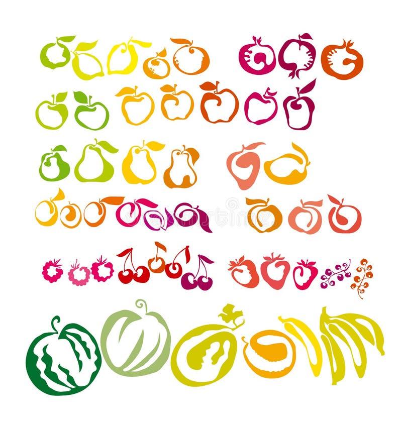 Ensemble d'icônes - baies et fruits illustration stock