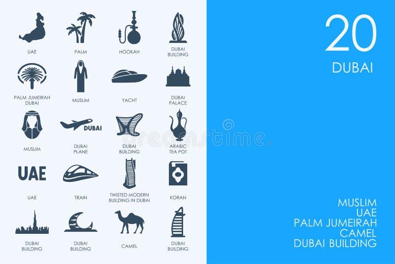 Ensemble d'icônes BLEUES de Dubaï de bibliothèque de HAMSTER illustration libre de droits