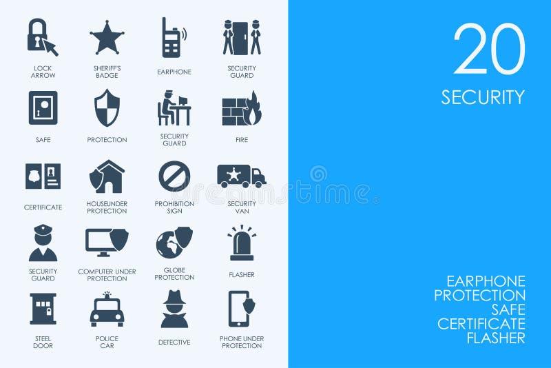 Ensemble d'icônes BLEUES de sécurité de bibliothèque de HAMSTER illustration libre de droits