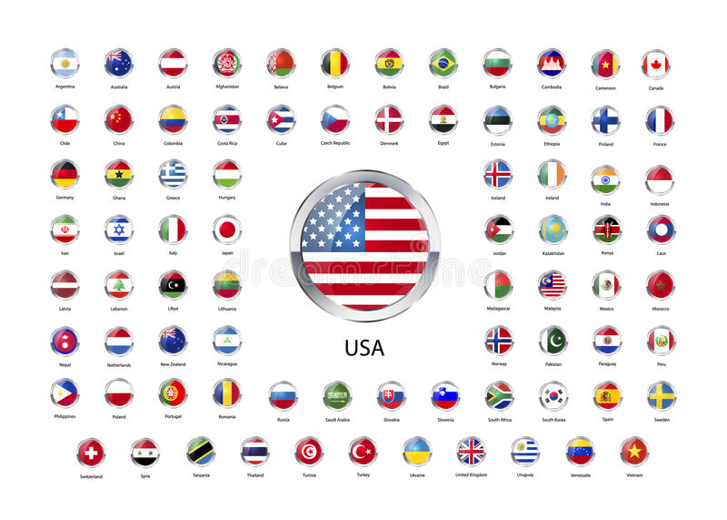 Ensemble d'icônes brillantes rondes avec la frontière métallique des drapeaux des États souverains du monde illustration stock