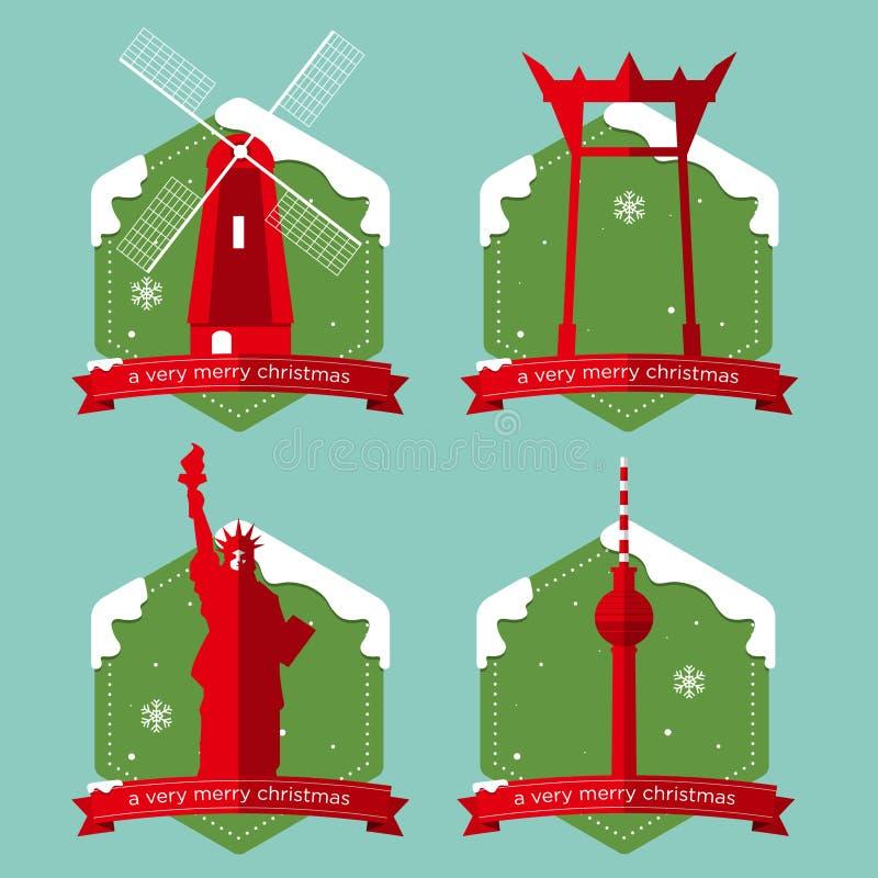 Ensemble d'icônes célèbres de bâtiments de point de repère du monde avec l'insigne de Noël dans la conception plate illustration de vecteur