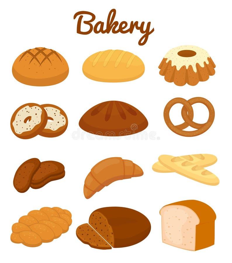 Ensemble d'icônes colorées de boulangerie illustration stock