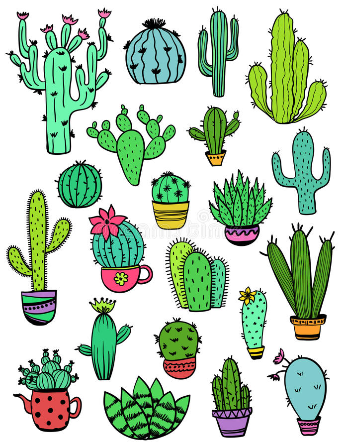 Ensemble d'icônes colorées de cactus illustration stock